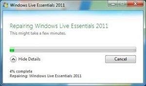 Repair Windows Live, screen 2