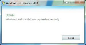 Repair Windows Live, screen 4
