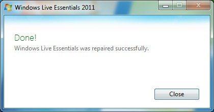 Windows Live Essentials repaired successfully