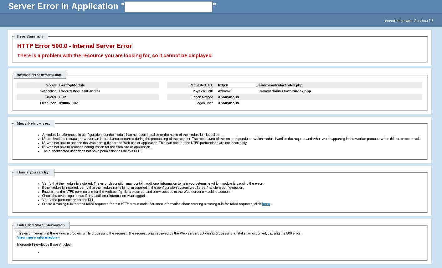 Showing Joomla's HTTP 500 detailed errors in IIS