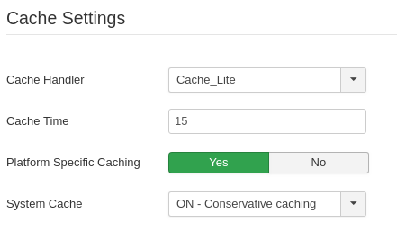 Joomla Cache Settings where you can choose Cache_Lite