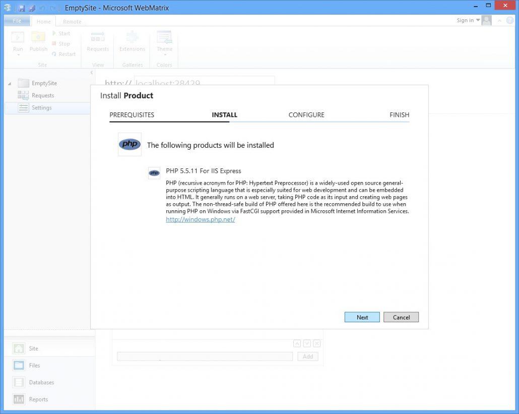 WebMatrix3 Install PHP 5.5 Step 1