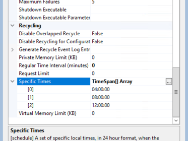 Application Pool Specific Time Interval recycle settings