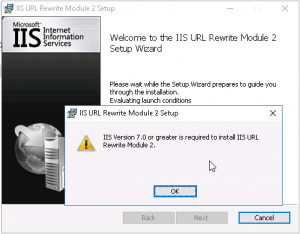 IIS URL Rewrite Module installation error IIS 10