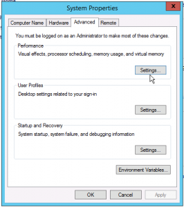 to change Windows pagefile settings click performance in Windows Server Advanced System Properties