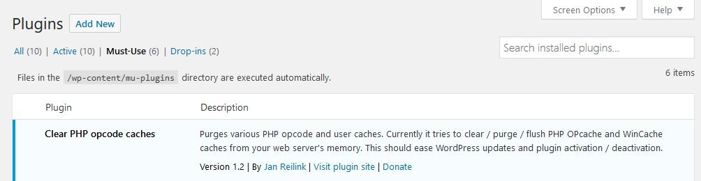 WordPress Must-use plugins screenshot