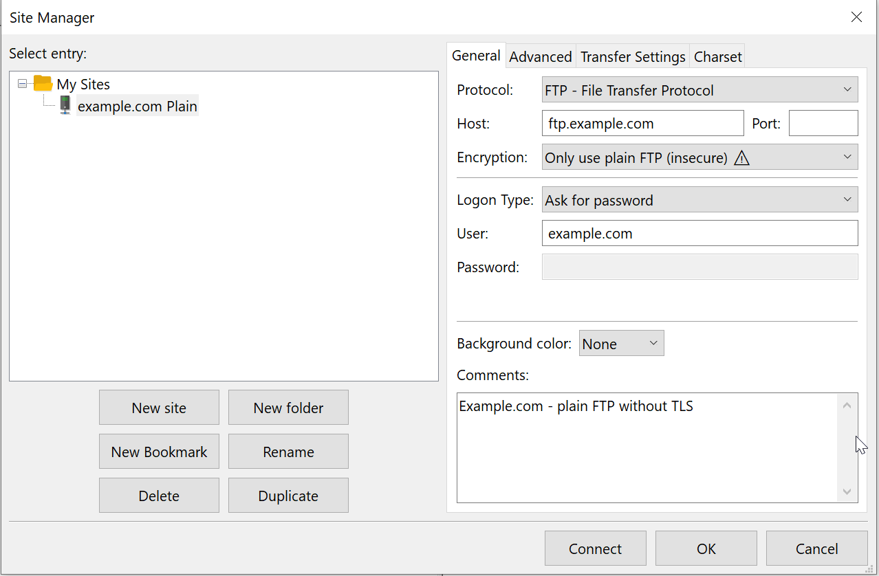 plain FTP without TLS configured in an FileZilla Site Manager entry.
