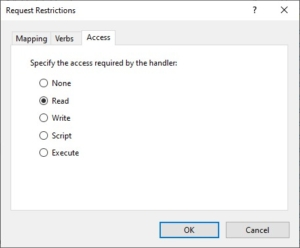Set PHP handler accessPolicy (Request Restrictions) to Read in IIS