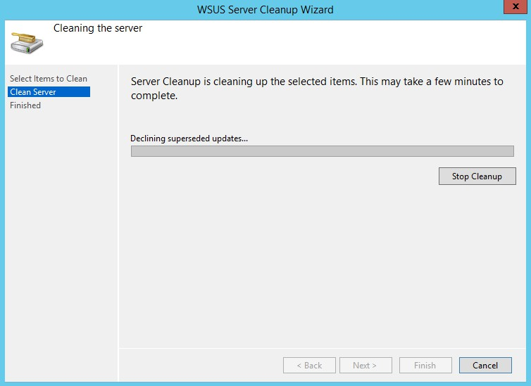 WSUS Server Cleanup Wizard screen 2