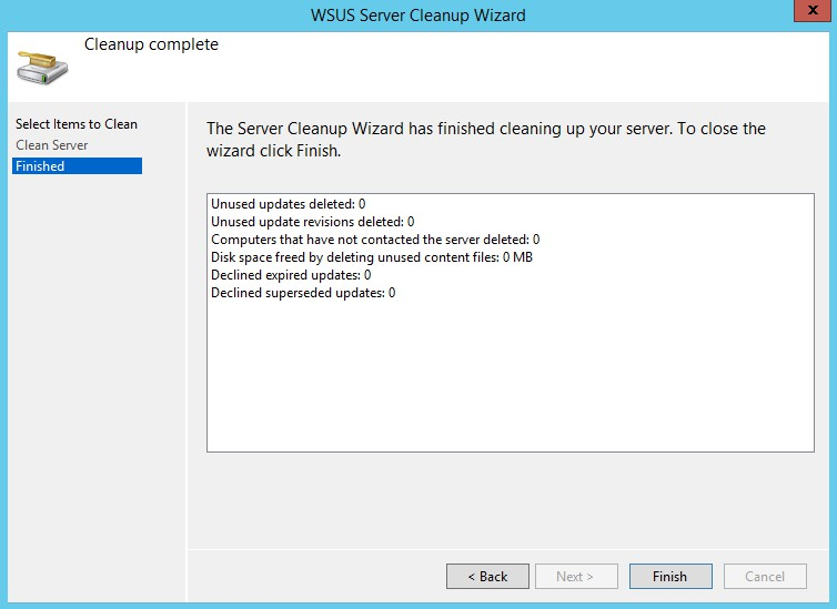 WSUS Server Cleanup Wizard screen 3