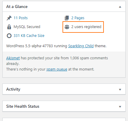 Show the number of registered WordPress users in the At-a-Glance widget in the Dashboard