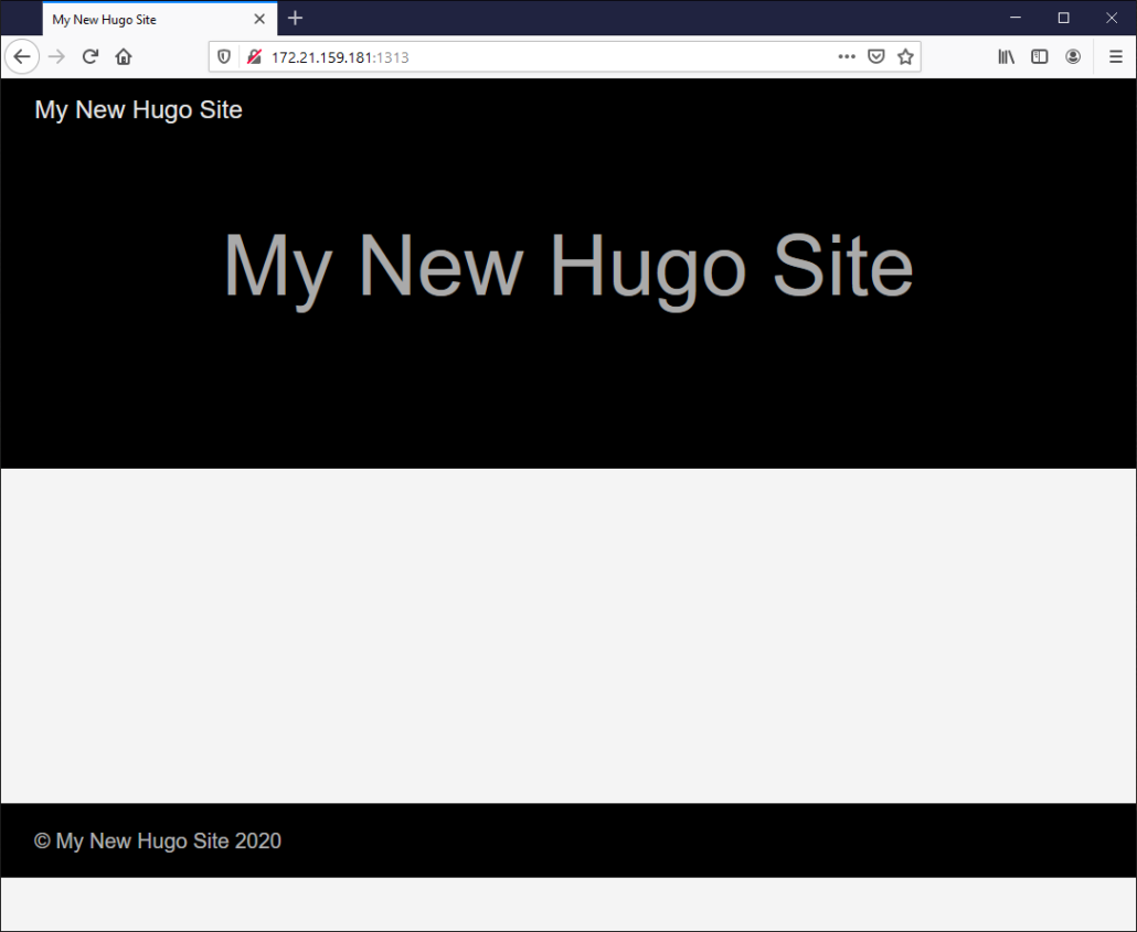 My New Hugo Site created in WSL 2 on WIndows 10