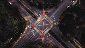 birds eye view of asphalt road