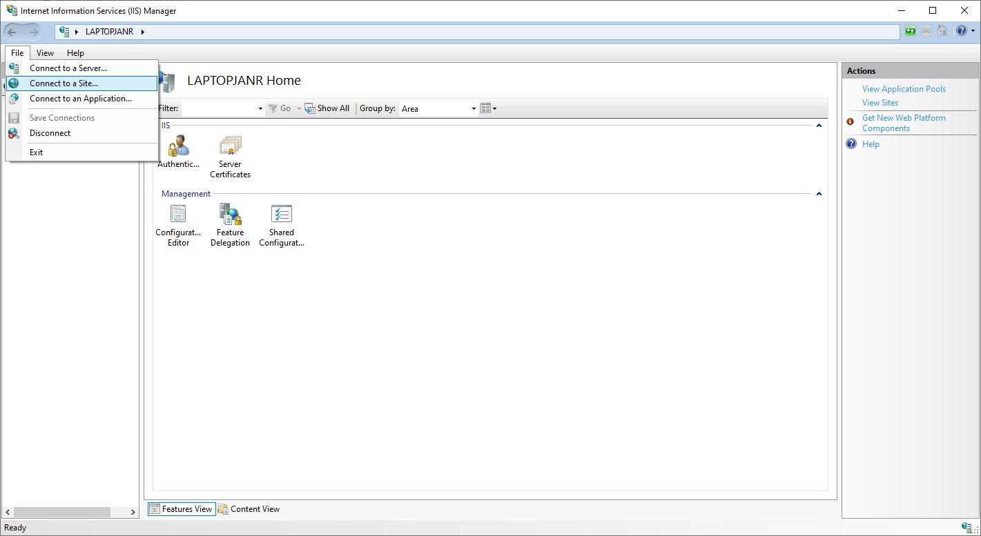 IIS Manager Connect to a Site... menu option