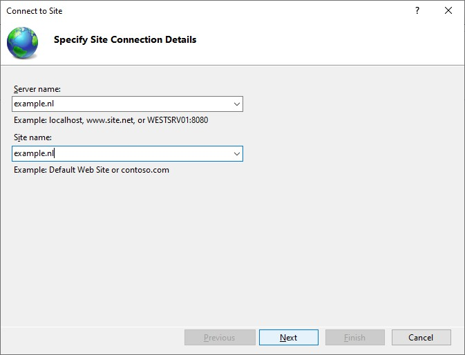 Specify Site Connection Details in IIS Manager