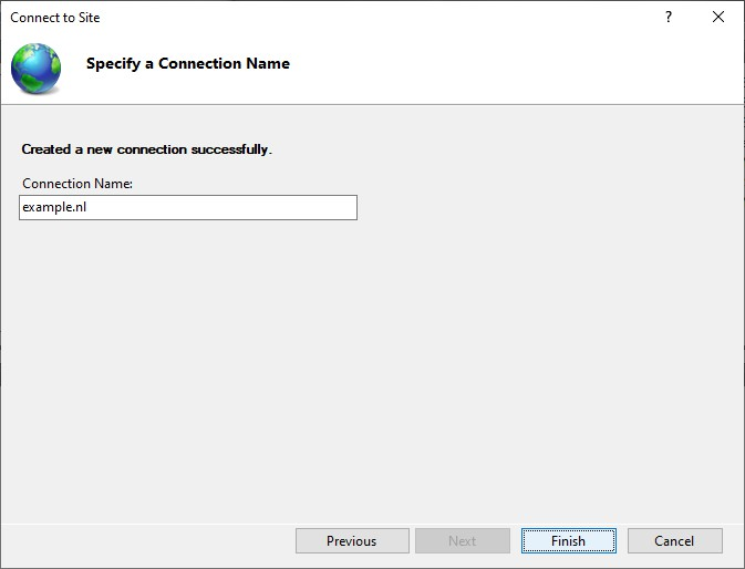 Specify a Connection Name after the connection was successfully made in IIS Manager