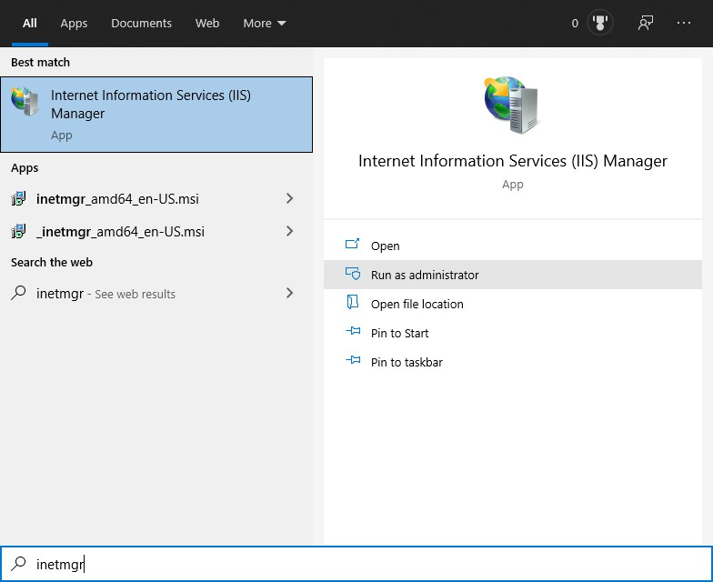 Start Internet Information Services (IIS) Manager in Windows Start Menu