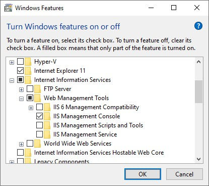 Install IIS Manager Console through Windows' turn features on or off